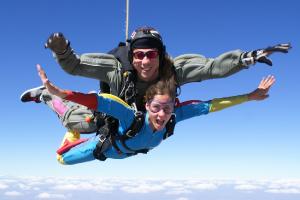 woman enjoying tampa fl tandem jump
