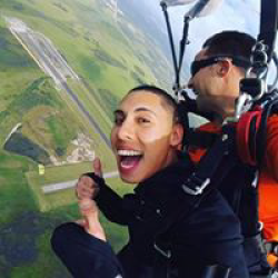 Male tandem student enjoying parachute flight while skydiving at Jump Florida near Orlando FL